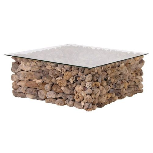 Square Driftwood Coffee Table with Glass Top